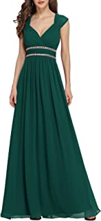 Ever-Pretty Vestito da Damigella Donna Linea ad A Chiffon Scollo a V Senza Maniche Stile Impero Lungo 08697
