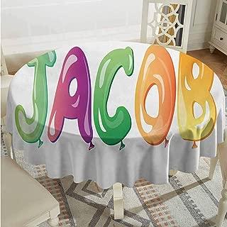 ScottDecor Dining Round Tablecloth Jacob Balloon Font Design Widespread Traditional Male Name Cheerful Digital Boyish Design Multicolor Outdoor Picnics Diameter 50