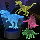 Dinosaur Night Light Gifts, 4 Pieces 3D Dinosaur Lamp Toy with 16 Color Changes and Remote Control, Gifts for Boys from 3 4 5 6+ Years