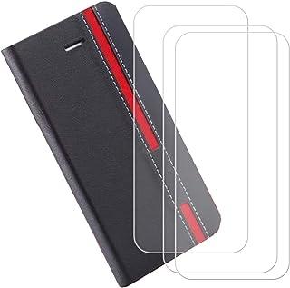 YZKJ Fodral till AGM X2 (5,5 tum) fodral [3 st] pansarglas skyddsfolie flip PU läder fodral mobiltelefonfodral plånbok väs...