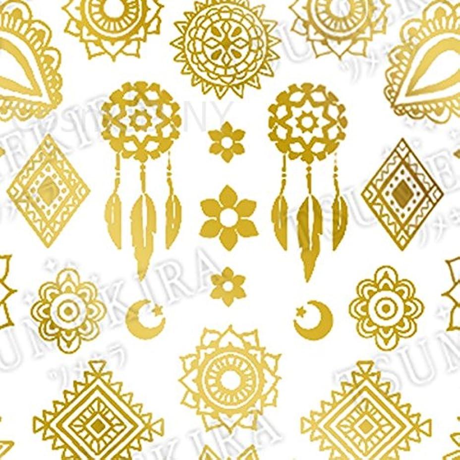 哲学マットレス公然とツメキラ(TSUMEKIRA) ネイル用シール Mehndi Gold SG-MHD-104