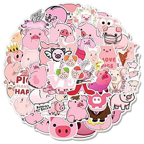 SHUYE Cute Cartoon Pink Pig Graffiti Sticker Notebook Motorcycle Skateboard Computer Guitar Luggage Sticker Toy 50Pcs