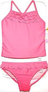 St. Tropez Girls 4 5 6 Coral Pink Tankini Swimsuit with Eyelet Trim & UPF 50