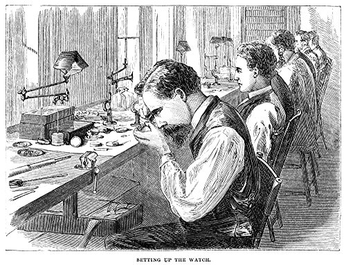Watchmakers 1869 Nworkers Assembling The Parts of Pocket Watches at The Elgin National Watch Company Factory in Elgin Illinois Wood Engraving American 1869 Poster Print by (24 x 36) -  Granger Collection, GRC0370150LARGE