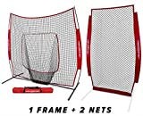 PowerNet Baseball Softball Practice Net 7x7 Bundle + I-Screen (1 Frame + 2 Nets) | Training Aid Equipment | Instant Pitcher Barrier from Line Drives Grounders | Front Toss | Hitting Fielding Drills
