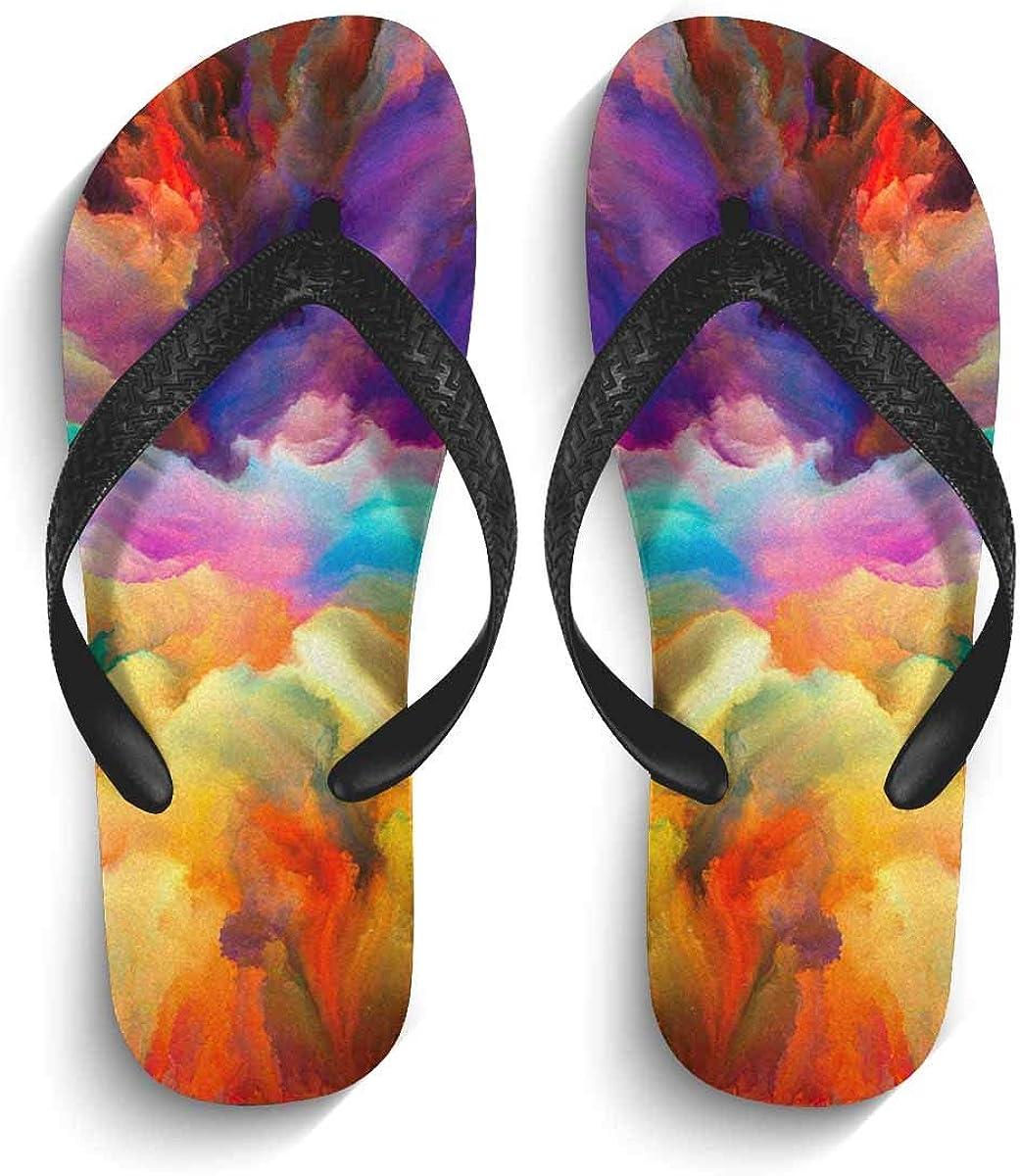 INTERESTPRINT Non-Slip Flip Flop Slippers Elephants Paisley and Doodle Flowers Black Straps Slim Thong Sandal for Men