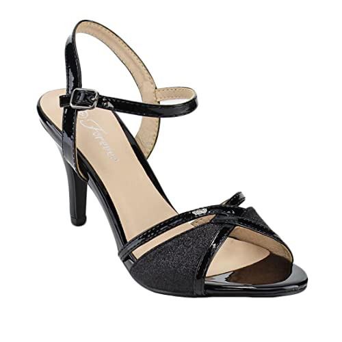 2cf6a6878442 Forever Villa-04 Women s Glitter Metallic Ankle Strap Buckle Wrapped Heel  Sandals
