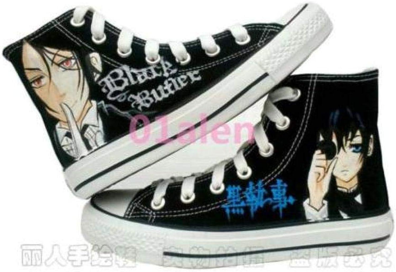 FidgetFidget Womens Girls Mens Black Butler Cosplay Flat Unisex Casual Sneaker Canvas shoes US10=UK8=AU9=EUR 42