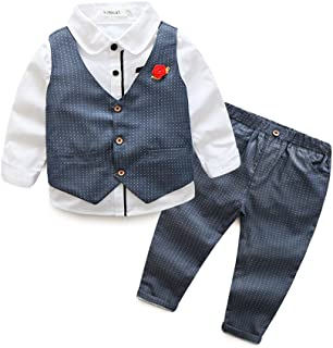 Darin Spring Autumn Boys Suit Waistcoat Vest Single Breasted Shirt Dot Trousers Gentleman With Corsage 3pcs (130cm, Grey)