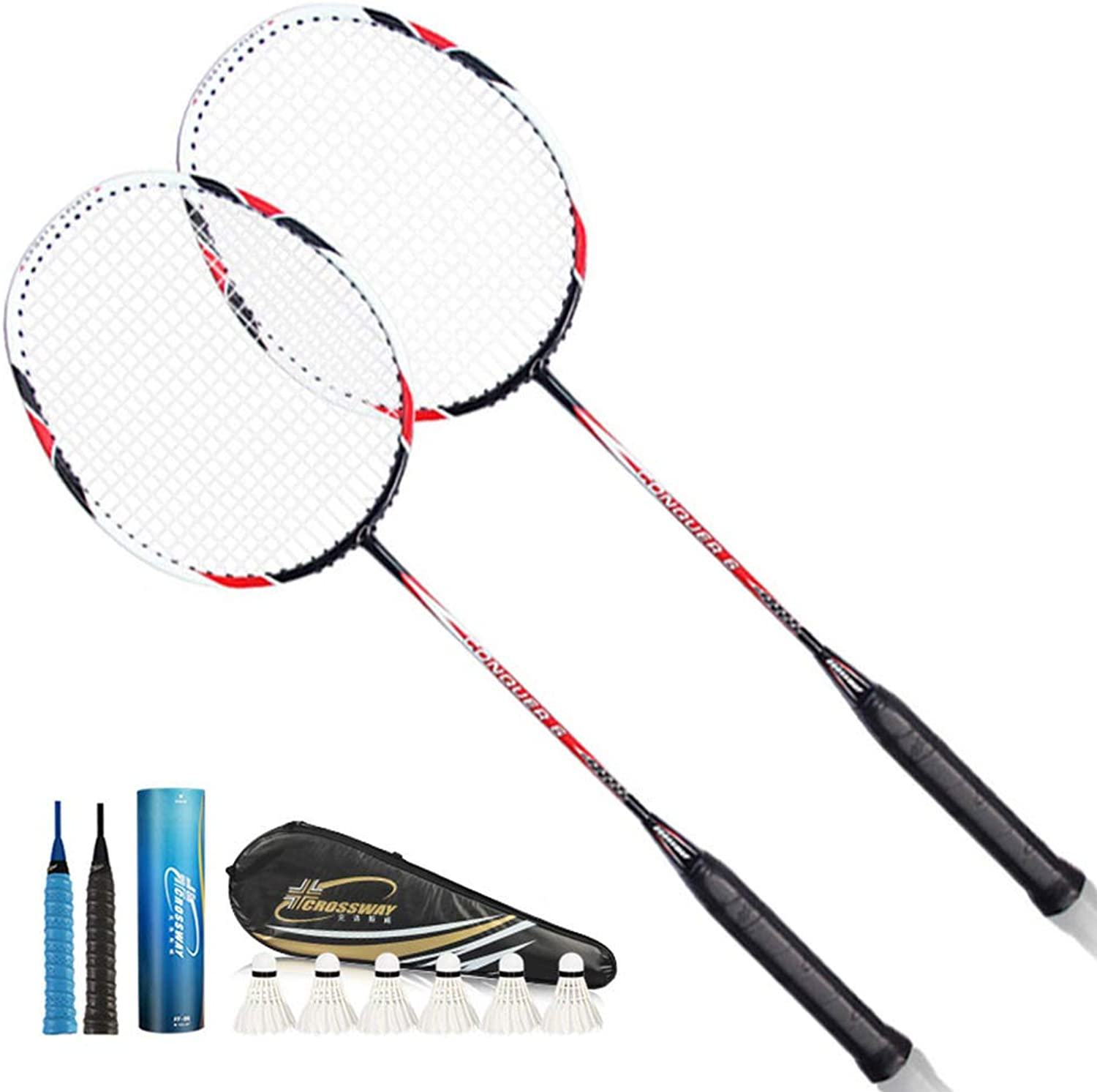 2 Piece Badminton Racket with Badminton Bag Sports Carbon Fiber Lightweight Badminton Racket Professional and Beginner