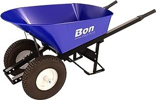 Bon 28 901 Premium Contractor Grade Steel Double Wheel Wheelbarrow with Steel Hande and Knobby Tire, 6 Cubic Feet