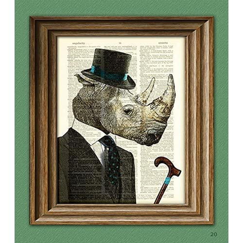 f8e932b1268 Sir Saggy Skin Gentleman Rhinoceros Rhino with fancy hat and cane over an  upcycled vintage dictionary