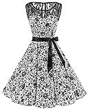 Bbonlinedress Women's 1950s Vintage Rockabilly Swing Dress Lace Cocktail Prom Party Dress White Skull XS