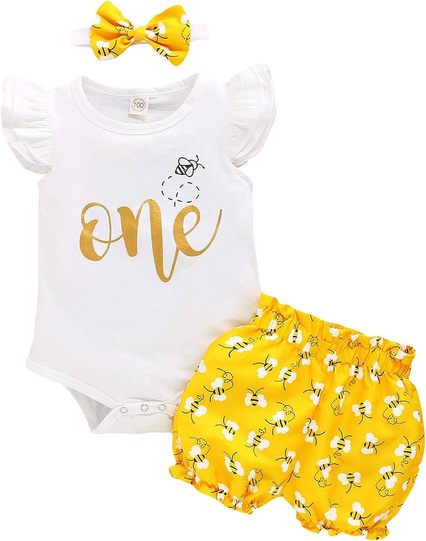 Baby Girl One Birthday Outfits Honey Bee Ruffle Sleeve Romper+Bumble Bee Shorts+Headband 3Pcs Summer Clothes