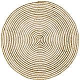 Handgewebter runder Jute Teppich groß Rocio | Outdoor Teppiche Rund geflochten für Garten oder Balkon | Indoor im Wohnzimmer Kinderzimmer | Mediterrane Deko für Ihre Wohnung (120)