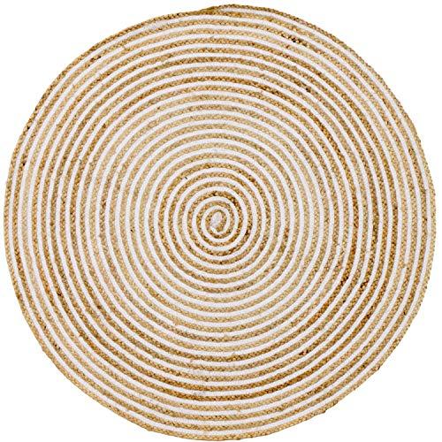 Handgewebter runder Jute Teppich 120 cm Teppich Rocio   Outdoor Teppiche Rund geflochten für Garten oder Balkon   Indoor im Wohnzimmer Kinderzimmer   Mediterrane Deko für Ihre Wohnung