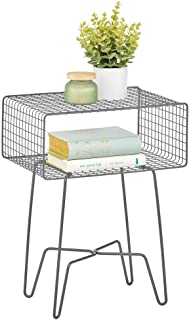 mDesign Modern Farmhouse Side/End Table - Metal Grid Design - Open Storage Shelf Basket, Hairpin Legs - Sturdy Vintage, Rustic, Industrial Home Decor Accent for Living Room, Bedroom - Graphite Gray