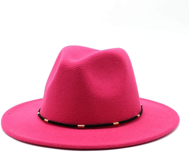 BAJIE Fedora Black And White Women'S Hat Imitation Wool Felt Hat Winter Men'S Jazz Hat 56-60Cm