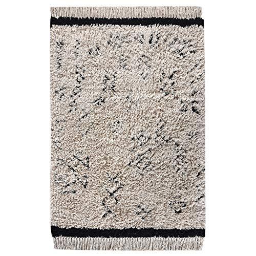 LaLe Living Teppich HIFA Handgetuftet in Elfenbein-Weiß & Schwarz mit Ikat Muster und Fransen aus Baumwolle, 180 x 120 cm für Wohnräume wie Esszimmer, Wohnzimmer, modernes Kinderzimmer