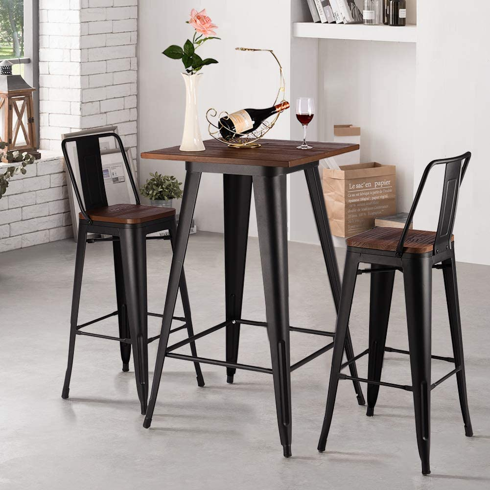 INMOZATA Bar Table Stool Set, Breakfast Bar Table and 9 Stools High Chairs  Bistro Stool Dining Table Chair Metal legs Wooden Seat