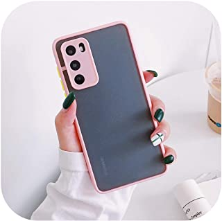 Cvnsla for Huawei P40 Pro P30 P20 Mate 30 20 Pro Nova 7 6 Soft TPU Candy Color Frame Back Coverのカメラ保護電話ケース-Pink-for Huawei...