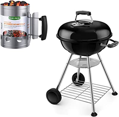 """BEAU JARDIN Premium 18 Inch Charcoal Grill Charcoal Chimney Starter 11""""X7"""" Grill Barbecue BBQ Galvanized Steel Chimney Lighter Basket Outdoor Cooking for Outdoor Camping Heavy Duty Picnic Small BBQ Ke"""