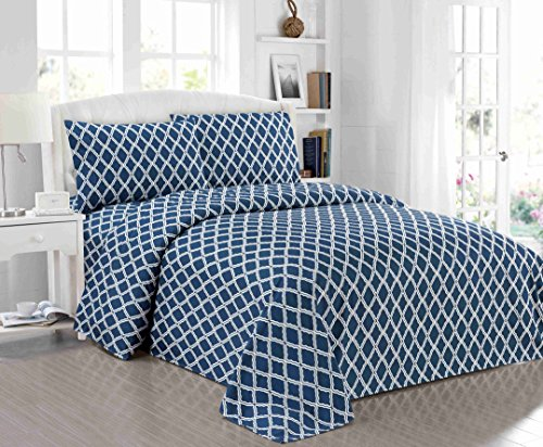 All American Collection New Microfiber 4 Piece Sheet Set Geometric Cone Design Printing (Queen, Navy)