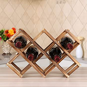 Ferfil Wine Rack, Wood Wine Storage Racks Countertop, 10 Bottle Wooden Stackable Wine Cellar Racks, Foldable Tabletop Free Standing Wine Bottle Stand Holder Display Shelf for Home Kitchen Bar Cabinets
