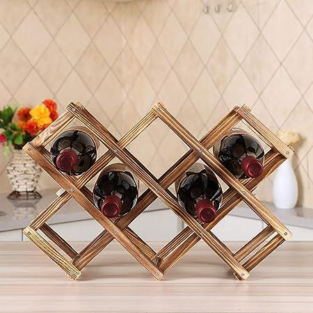 Ferfil Wine Rack, Wood Wine Storage Racks Countertop, 10 Bottle Wooden Stackable Wine Cellar Racks, Foldable Tabletop Free Standing Wine Bottle Stand Holder Display Shelf for Home Kitchen Bar Cabinets