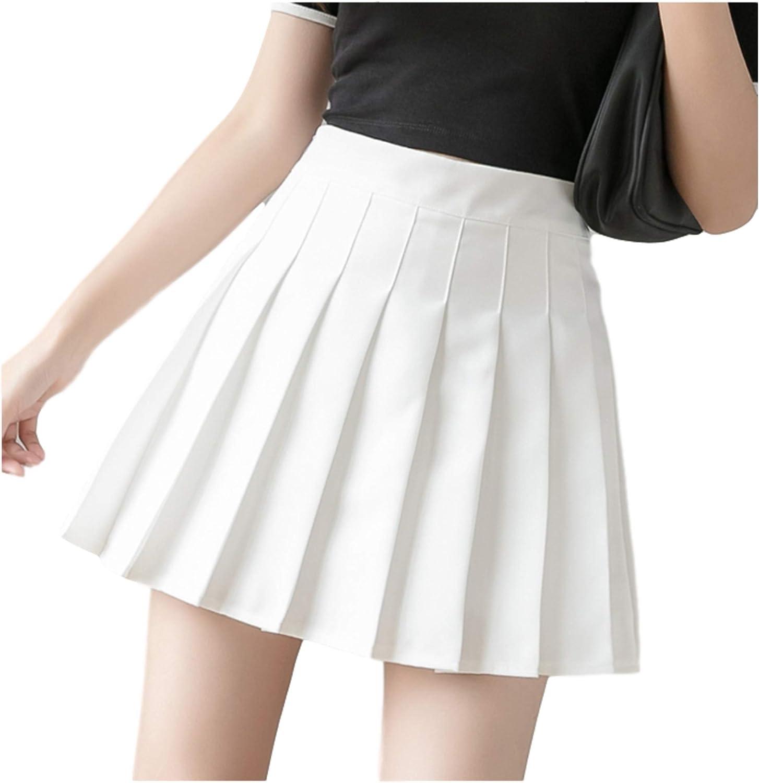 Girls Short High Waist Pleated Skirt Plaid Skirt School Tennis Skirt,White,M