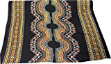 Full Funk Thin Bright African Dashiki Rayon Fabric Print 42inch x 3yard Bolt, Pattern A Black Yellow