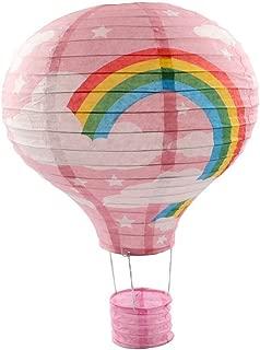 Party Supplies-5Pcs/Lot Hot Air Balloon Paper Lantern Decoration Pom Poms Pompoms Decoration Wedding Birthday Party Nursery Decoration Parties Favor Party Decor (12inch, Pink Rainbow)