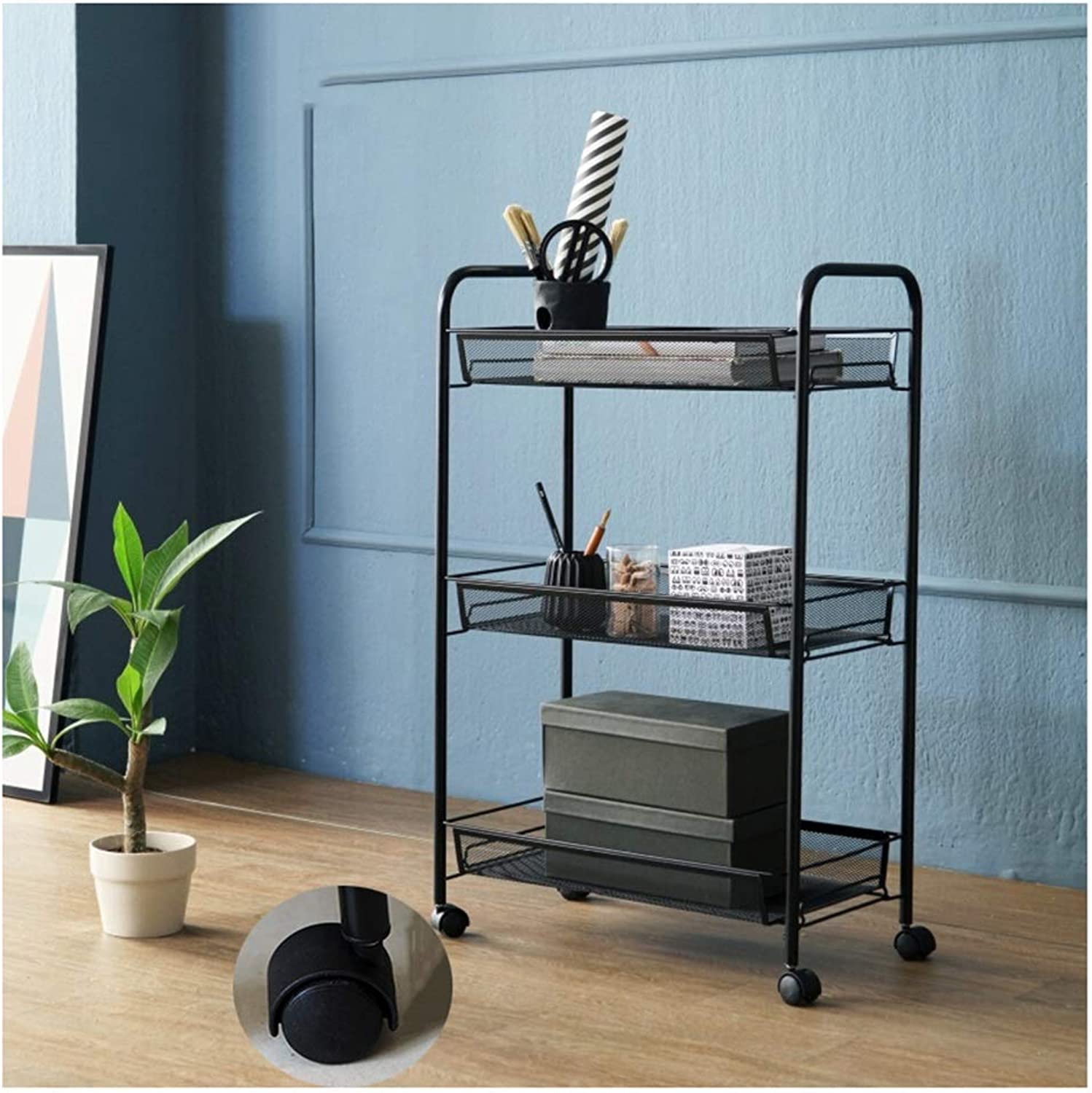 XLong-Home Mobile Trolley Rack Pulley Bathroom Bedroom Storage Shelf Living Room Kitchen Clips Racks 3 Layers