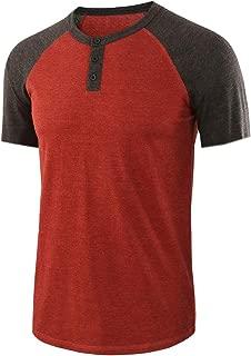 Men's Casual Vintage Short Raglan Sleeve Henley Cotton Basic Baseball Tee T-Shirts