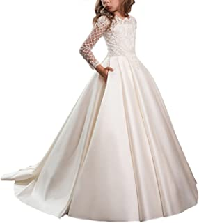 Satin First Communion Dresses for Girls with Sleeves Long Ball Gown