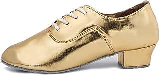 HROYL Zapatos de Baile de latín/Jazz estándar de los Hombres de Cuero Lace up Zapatos de Baile de los Hombres de salón de ...