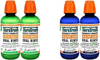 TheraBreath Fresh Breath Oral Rinse, Mild Mint, 16 Ounce Bottle (Pack of 2) and TheraBreath 24 Hour Healthy...