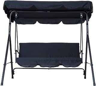 koonlertshop Patio Outdoor Swing Chair Polyester Canopy Garden Hammock Awning Bench Water Resistant Seat Black #505