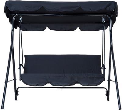 Super Amazon Com Outsunny 3 Person Canopy Porch Swing Black Inzonedesignstudio Interior Chair Design Inzonedesignstudiocom