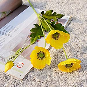 IMFILM Artificial Poppies Flowers, 6Pcs Mini Realistic Poppy Silk Flower Plastic Fake Flowers Anemone Poppy Bouquet Faux Flower Branches for Wedding/Party Decor (Yellow)