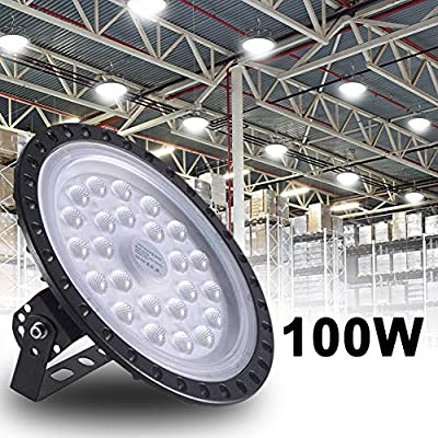 Bikuer 100W UFO LED High Bay Light lamp Factory Warehouse Industrial Lighting 10000 Lumen 6000-6500K IP65 Warehouse LED Lights- Commercial Bay Lighting for Garage Factory Workshop Gym