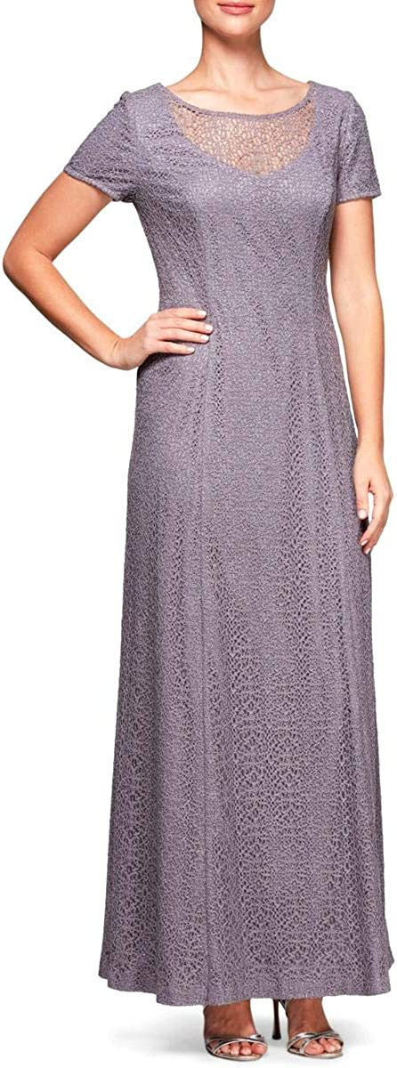 Alex Evenings Women's Long Cap Sleeve Cap Sleeve Lace Gown with Brooch