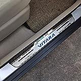 HJHNB 4 pièces Protecteur de seuil de Porte de Voiture pour Suzuki Vitara 2015-2020, Garniture de Protection de seuil de pédale d'usure Accessoires de Garniture, Acier Inoxydable,Blue