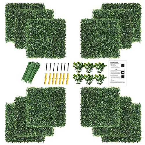 """KASZOO 12Pack 20""""x20"""" Artificial Boxwood Grass Backdrop Panels Topiary Hedge Plant, UV Protected Privacy Hedge Screen Faux Boxwood for Outdoor,Indoor,Garden,Fence,Backyard,Greenery Walls"""