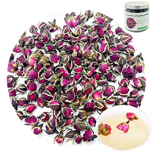 Dried Small Rose Buds Tea Edible, Organic Red Rose Tea Benefits Rose Tea Flowers Red Rose Buds and Petals Loose Leaf