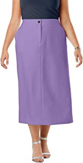 Women's Plus Size Tummy Control Bi-Stretch Midi Skirt