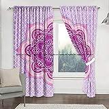 Sophia Art - Cortinas de balcón con diseño de flor de loto, color rosa indio, con diseño de mandala, para ventana, cortina hecha a mano
