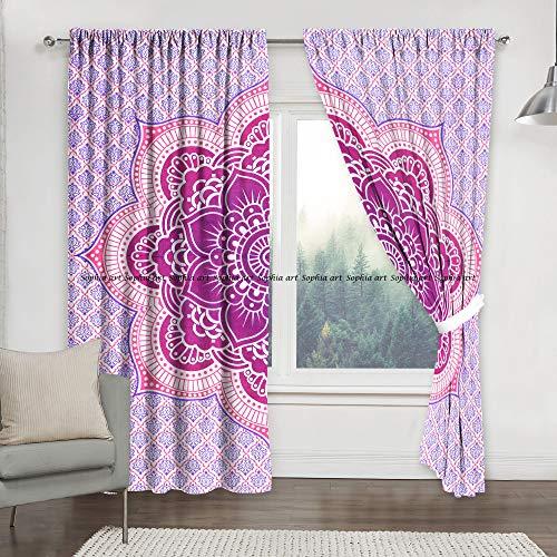 Sophia-Art Cortinas de flores de loto rosa india para puerta o balcón, con diseño de mandala bohemio, hecha a mano