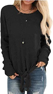 Womens Slim Pullover Sexy Knit Long Sleeve Tie-Front Jumper Sweater