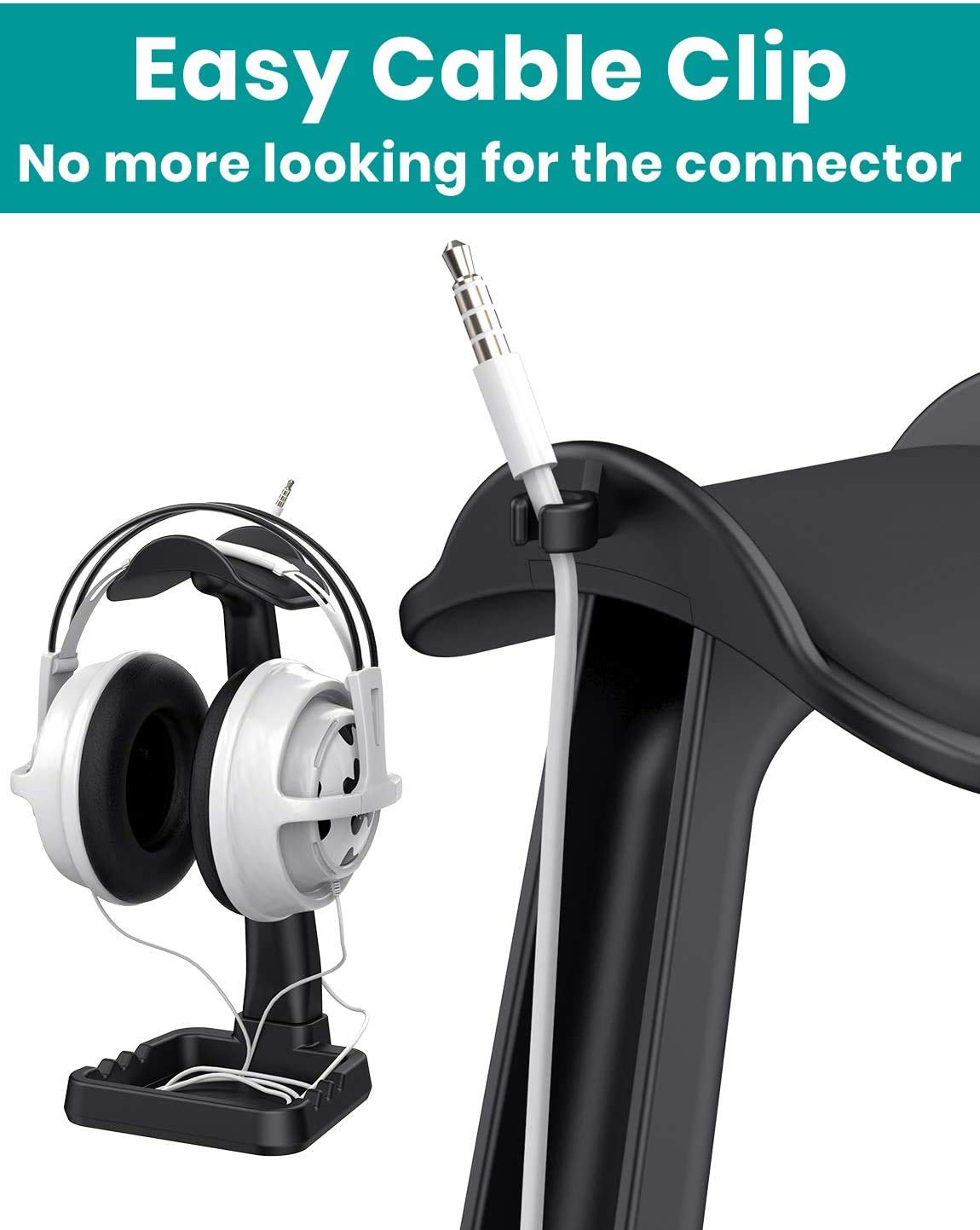 Headphone Stand Built in Cable Clip Organizer and Phone Holder, Klearlook (High stability/Multi-Purpose) Universal Headset Mount Hanger Gaming Headset Rack Desktop Organization Earphone Display-Black